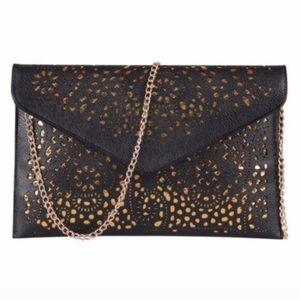 Handbags - Black Large Cutout Clutch Bag NWOT